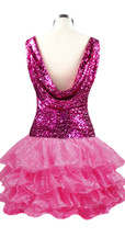 Short  Sequin Fabric Dress In Fuchsia With Ruffle Hemline With A Cowl Back Back View