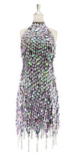 Short handmade sequin dress, in pearl iridescent lilac paillette sequins with silver faceted beads, a luxe grey fabric background and jagged, beaded hemline front view.