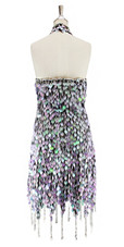 Short handmade sequin dress, in pearl iridescent lilac paillette sequins with silver faceted beads, a luxe grey fabric background and jagged, beaded hemline back view