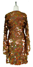 Short Handmade 30mm Paillette Hanging Hologram Brown Sequin Dress with V Neck and Oversized Sleeves back view