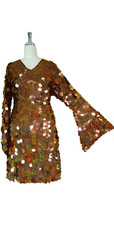 Short Handmade 30mm Paillette Hanging Hologram Brown Sequin Dress with V Neck and Oversized Sleeves