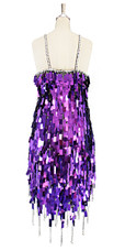 A short handmade sequin dress, in rectangular metallic purple paillette sequins with silver faceted beads dress in back view