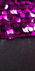 Show Choir Short Metallic Fuchsia Sequin Fabric With Black Stretch Fabric Dress