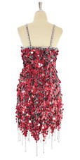 A short handmade sequin dress, in red hologram paillette sequins with silver beads back view