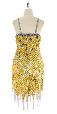 A short handmade sequin dress, in yellow pearl paillette sequins with silver beads back view