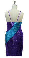 Short patterned dress in turquoise and purple sequin spangles fabric in a classic cut back view