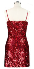 Short patterned dress in red and black sequin spangles fabric with highlight paillettes sequins back view