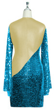 Short patterned dress with oversized sleeves in turquoise sequin spangles fabric and light gold stretch ITY fabric Back View