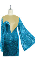 Short patterned dress with oversized sleeves in turquoise sequin spangles fabric and light gold stretch ITY fabric Close cut View.