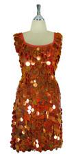 Short Handmade 30mm Paillette Hanging Hologram Copper Sequin Sleeveless Dress with U Neck front