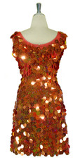 Short Handmade 30mm Paillette Hanging Hologram Copper Sequin Sleeveless Dress with U Neck back