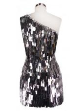 Short Handmade Rectangular Paillette Hanging Metallic Silver Sequin Dress with One-shoulder Cut back view