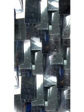 Short Handmade Rectangular Paillette Hanging Metallic Silver Sequin Dress with One-shoulder Cut close up