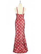 A long handmade sequin dress, in 8mm cupped metallic red and silver sequins, geometric pattern dress back view
