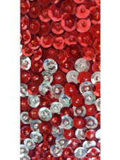 A long handmade sequin dress, in 8mm cupped metallic red and silver sequins, geometric pattern dress close up view