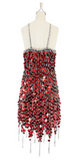 A short handmade sequin dress, in 20mm metallic red paillette sequins with silver faceted beads, a luxe grey fabric background and jagged, beaded hemline back view