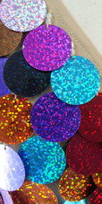 Short Handmade Hologram Multicolored Paillette Sequin Dress with Long Sleeves close up view