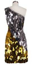 Short Handmade Rectangle Paillette Sequin Dress in Gold and Silver with One-shoulder Cut back view