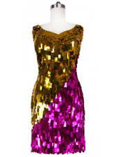 Short Handmade Rectangle Paillette Sequin Dress in Metallic Fuchsia and Gold and with a sweetheart neckline front view
