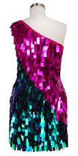 Short Handmade Rectangle Paillette Sequin Dress in Fuscia and Green with One-shoulder Cut Back view