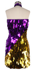 Short Handmade Rectangle Paillette Sequin Dress in Metallic Purple and Gold and with a sweetheart neckline in back view
