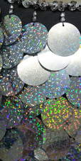A short handmade sequin dress, in 30mm hologram silver paillette sequins with silver faceted beads close up view