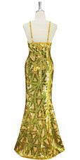 A long handmade sequin dress, in 10mm flat sequins with beads in metallic gold, hologram gold and light pearl peach geometric pattern dress back view