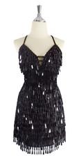 A short handmade sequin dress, with tear-drop shaped black paillette sequins front view