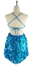 A short handmade sequin dress, with 10mm hologram turquoise fishscale sequins back view