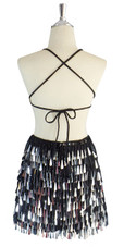 A short handmade sequin dress, with tear-drop shaped metallic silver paillette sequins, black faceted beads back view