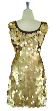 Short Handmade 30mm Paillette Hanging Gold Sequin Sleeveless Dress with U Neck Back view