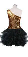 Short  Sequin Fabric Dress In Gold With Ruffle Hemline With One-Shoulder Neckline Back view