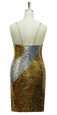 Short patterned dress in silver and gold sequin spangles fabric in a classic cut back view