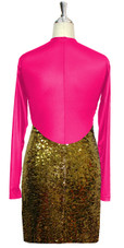Short patterned dress with sleeves in gold sequin spangles fabric and fuchsia stretch fabric Back View