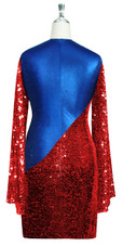 Short patterned dress with oversized sleeves in red sequin spangles fabric and blue stretch ITY fabric Back View