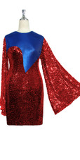 Short patterned dress with oversized sleeves in red sequin spangles fabric and blue stretch ITY fabric Close cut View