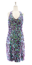 Short handmade sequin dress in 20mm pearl iridescent lilac paillette sequins with silver faceted beads, a luxe grey fabric background and halter neck cut front view