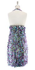 A short handmade sequin dress in 20mm pearl iridescent lilac paillette sequins with silver faceted beads, a luxe grey fabric background and halter neck cut back view