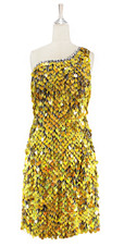 Short handmade sequin dress in 20mm hologram gold paillette sequins with silver faceted beads, a luxe grey fabric background, one shoulder cut and a straight hemline front view