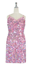 Short Handmade 20mm Paillette Hanging Sequin Dress in Hologram Pink front view