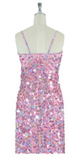 Short Handmade 20mm Paillette Hanging Sequin Dress in Hologram Pink back view