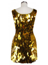 Short Handmade Rectangular Paillette Hanging Metallic Gold Sequin Dress with Sweetheart Neckline back view