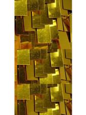 Short Handmade Rectangular Paillette Hanging Metallic Gold Sequin Dress with Sweetheart Neckline close view