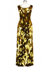 Long Handmade Rectangular Paillette Sequin Gown in Metallic Gold back view