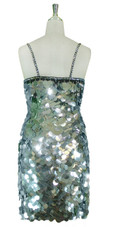 Short Handmade 30mm Paillette Hanging Metallic Silver Sequin Dress back view