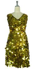 Short Handmade 30mm Paillette Hanging Metallic Gold Sleeveless Sequin Dress with V Neck front