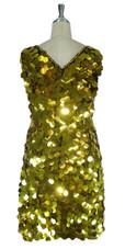 Short Handmade 30mm Paillette Hanging Metallic Gold Sleeveless Sequin Dress with V Neck back