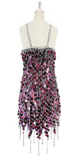 Short handmade sequin dress, in 20mm metallic dark pink sequins with silver faceted beads, a luxe grey fabric backround and a jagged, beaded hemline back view