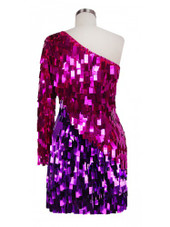 Short Handmade Rectangle Paillette Sequin Dress in Metallic Fuchsia and Purple and a One-Sleeve Cut back view