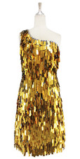 Short Handmade Rectangle Paillette Sequin Dress in Gold and Silver faceted beeds One-shoulder Cut front view